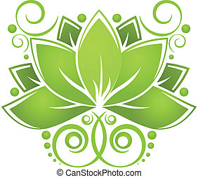 Green lotos - Green abstract lotos on white background. ...