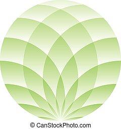 Green lotus circle - symbol of yoga, wellness, beauty and spa. Vector illustration