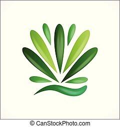 Green lotus flower plant healthy nature logo vector image design