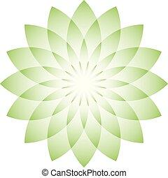 Green lotus flower - symbol of yoga, wellness, beauty and spa. Vector illustration