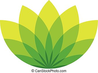 Green lotus icon - wellness beauty and spa theme. Simple flat green vector illustration on white background