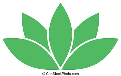Green lotus symbol. Spa and wellness theme design element. Vector illustration