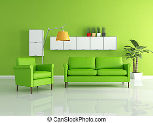 green lounge - green sofa and armchair in a modern living...
