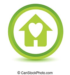 Green Love house icon