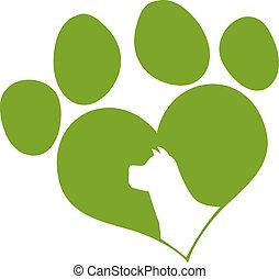 Green Love Paw Print With Dog Head