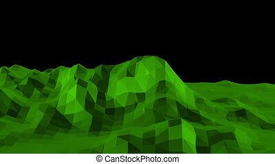 Green low poly background pulsating. Abstract low poly surface as fractal background in stylish low poly design. Polygonal mosaic background with vertex, spikes. Cool modern 3D design5