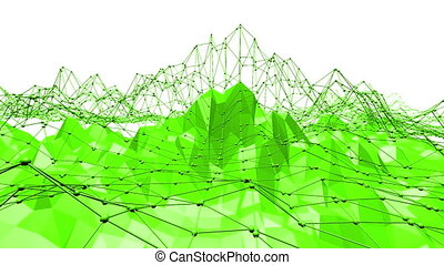 Green low poly background waving. Abstract low poly surface...