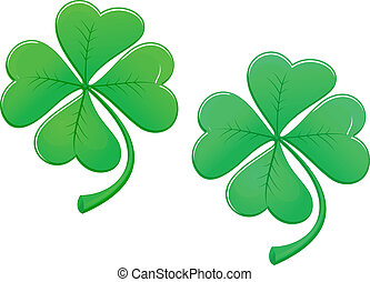 Green lucky clover isolated on white background for ecology...