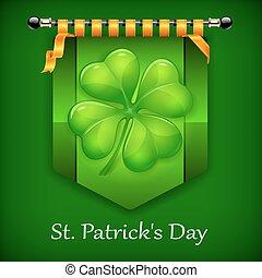 Green lucky four leaf Irish clover flag