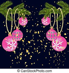 Green lush branch of spruce, with two sides decorated with gold confetti. Spruce branches with red balls. Isolated on a dark blue background. illustration