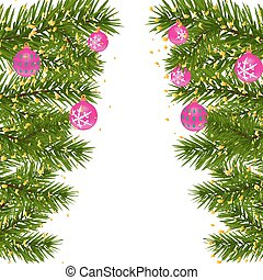 Green lush branch of spruce, with two sides decorated with gold confetti. Spruce branches with red balls. Isolated on white illustration