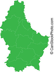 Green Luxembourg map - Administrative division of the Grand...
