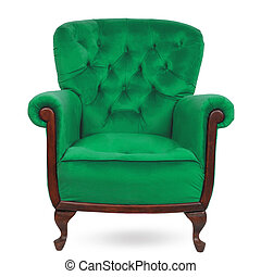 Green luxury armchair isolated on white background.