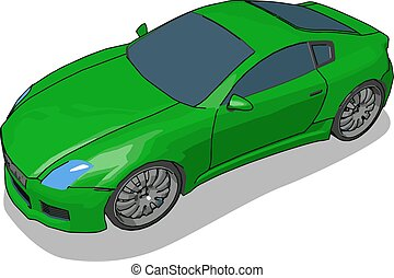 Green luxury car, illustration, vector on white background.