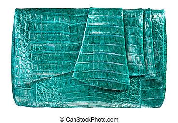 green luxury female handbag isolated on white background