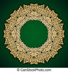 Green luxury pattern with gold leaves frame