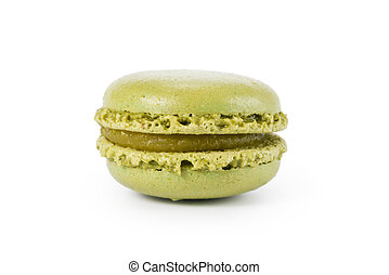 green macaron with jam isolated on white