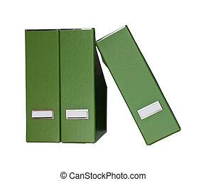 Three isolated green magazine files