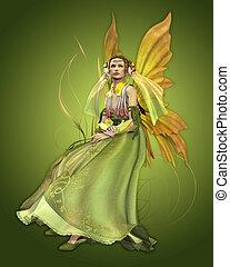 Green Magic - a magical fairy in a green dress