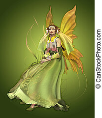 Green Magic - a magical fairy in a green dress