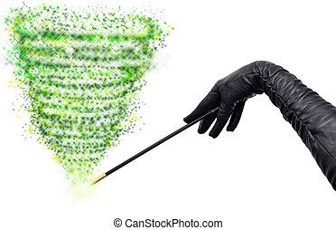 Green magic - Magician hands in long black gloves holding...