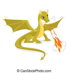 Green magical dragon breathing fire.