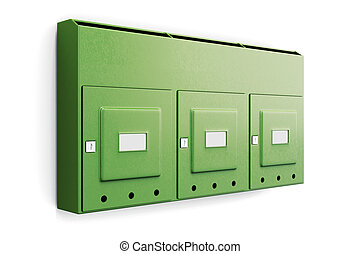 Green mailbox in an apartment building isolated on white...