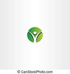 green man circle logo sign