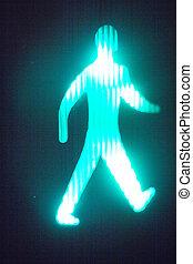 Green man go pedestrian traffic light