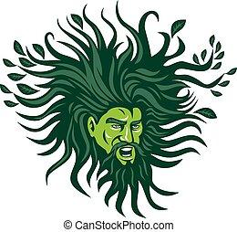 Green Man Head Hair Flowing Leaves Cartoon