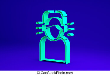 Green Man in headphones icon isolated on blue background. Minimalism concept. 3d illustration 3D render
