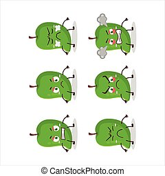 Green mango cartoon character with various angry expressions