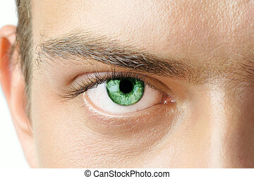 Macro shot of man's green eye with visible blood vessels