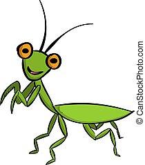Green mantis, illustration, vector on white background.