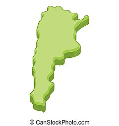Green map of Argentina icon, cartoon style