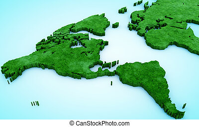 green map of the world on blue background 3d render