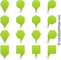 Green map pin sign flat location icon web button