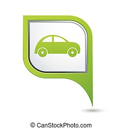 Green map pointer with car icon