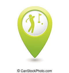 Green map pointer with golf icon