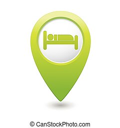 Green map pointer with hotel icon