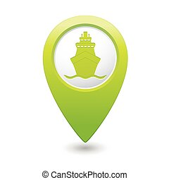 Green map pointer with ship icon