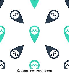 Green Map pointer with taxi icon isolated seamless pattern on white background. Vector