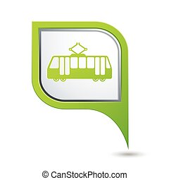 Green map pointer with tram icon.