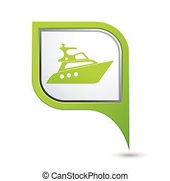 Green map pointer with yacht icon