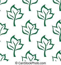 Green maple tree seamless pattern background