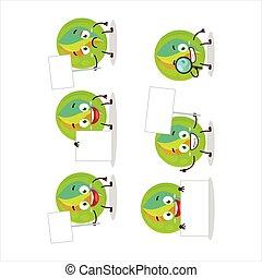 Green marbles cartoon character bring information board