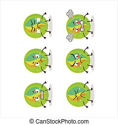 Green marbles cartoon character with various angry ...