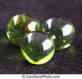 Green marbles in close up