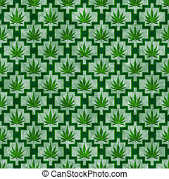 Green Marijuana Tile Pattern Repeat Background - Green...