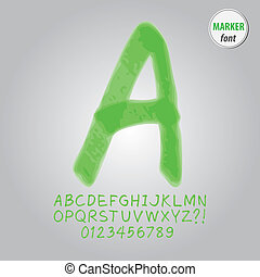 Green Marker Alphabet and Digit Vector
